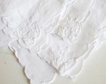 White Hankies, Embroidered Flowers White on White, Set of 3, Feminine and Romantic, Gift For Her, Mom, Grandma, Under 20