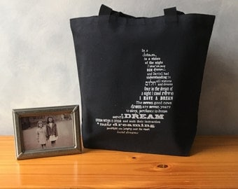 """CLEARANCE - Dream Moon Original Design Typography Tote -Essentials Handbag Tote - Silver Ink on a Black Bag -More info in """"Item Details"""""""