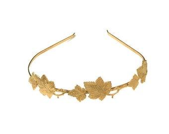 Loraine crown, Gold Leaf Headband, Greek Goddess Headband, Bridal Hair Accessories, Wedding Headband, Golden Leaves, Vines, Nature Inspired