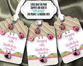 12 Personalized Favor Tags, Gift Tag, Bridal Shower, Baby Shower, BirthdaParty, Hot Pink and Green, Lady Bugs