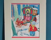 Mabel Lucie Attwell - original vintage print 1970s 70s - gypsy caravan snow scene rabbit child - nursery art children's picture for framing