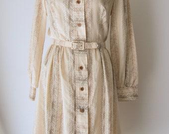 Vintage 1970s Chevron Printed Shirt Dress by Julie MIller