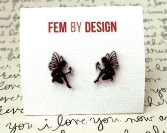 Fairy Earrings, Fairy Jewelry, Faery Wings, Winged Fairy Earrings, Black Fairies, Shrink Plastic Jewelry, Mystical Jewelry Handmade Earrings