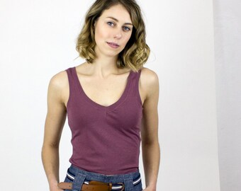 Rose Brown Bamboo Tank Top - Simple stretch jersey camisole - Basics collection Underlayer / Layering piece