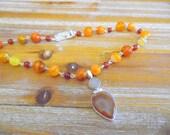 Orange Strip Agate and Carnelian Necklace