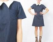 Vintage 1960s Mod Scooter Dress Mod Striped Mini Dress Navy Blue Pinstripe Dress 60s Pointy Collar Dress Short Sleeve Retro Dress (S/M)