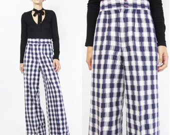 1970s Plaid Pants High Waist Wide Leg Pants 70s Bell Bottoms Checkered Plaid Trousers Purple Pants 1970s Disco Womens Palazzo Pants (XS)