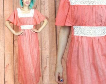 50% OFF SALE 60s 70s Hippie Dress Pink Cotton Dress Lace Maxi Dress Empire Waist Dress Flutter Sleeve Dress Festival Boho Tie Back Dress (S)