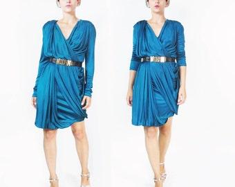 90s Jean Paul Gaultier Dress Avant Garde Draped Dress Long Sleeve Dress Blue Green Teal Dress Soleil Minimalist Grecian Jersey Dress (S/M)