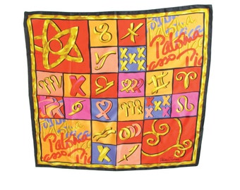 Paloma Picasso Scarf Designer Vintage Scarf Heart Print Scarf Novelty Print Scarf Bright Colorful Scarf Vintage Red Square Scarf