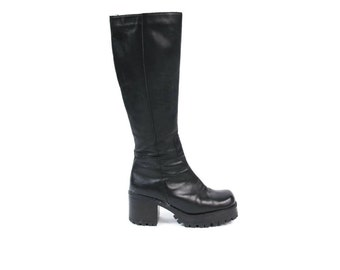 1990s Leather Platform Boots Chunky Heel Boots Black Leather Knee Boots Goth Grunge Boots Vintage Womens Tall Leather Boots Size 6.5 37