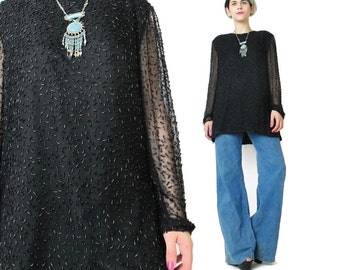 Vintage 1980s Beaded Blouse Long Sleeve Beaded Top Disco Party Blouse Black Sheer Sleeves Shirt Slouchy Evening Top Embellished M/L E663