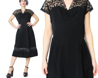1940s Black Lace Dress Vintage 40s Dress Sheer Lace Dress  Lace Illusion Peekaboo Sweetheart Neckline Knee Length Short Sleeve Dress (S/M)