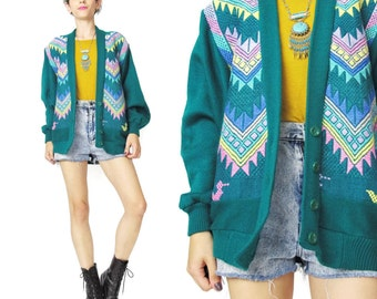 80s Embroidered Cardigan Southwestern Triangles Slouchy Green Cardigan Grandpa Grandma Cosby Sweater Pastel Colors Button Up Cardigan E109