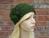 Crochet Headband, Deep Green Headband with Flower, Warm Winter Headband, Fall Headband, Ear Warmer, Gifts Under 25, Cute Headband