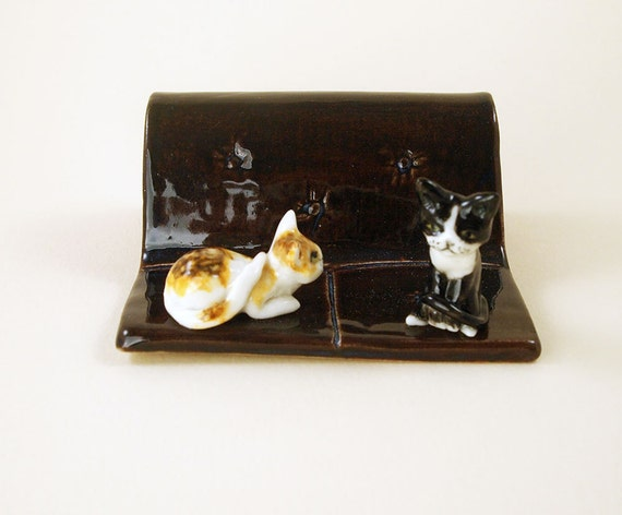 Ceramic cat business card holder by anita reay by anitareayart for Cat business card holder
