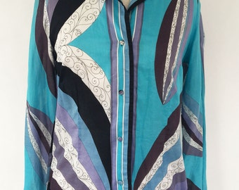 Vintage Emilio Pucci Blue Cotton Blouse