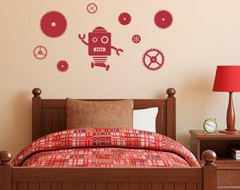 Robot and Gears Decal Set - Gears Wall Decal - Robot Wall Sticker - Boy Bedroom Decor - Medium