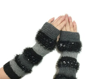 Hand Knit Gloves, Arm Warmers, Fingerless Gloves  Variegated Grays, Gauntlets, Texting Gloves, Fashion Accessories
