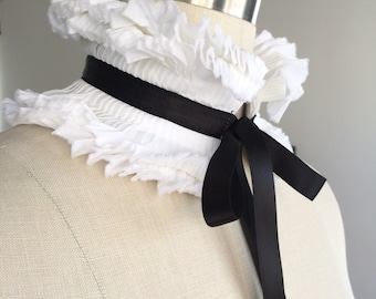 NEW White Detachable Collar/Hand Pleated Collar/ Totally hand made/Black and White/Neck piece/French collar/Ascot collar