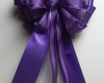 Wedding Pew Bows Purple Sheer & Satin Wired Ribbon over Purple Wired Satin Hand Tied