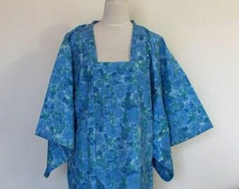 Vintage KIMONO coat MICHIYUKI floral blue green outer kimono size M ready to ship