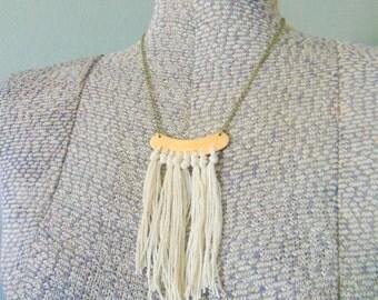 Boho Fringe Necklace, Tassel Necklace, Brass Bib Necklace, Boho Chic Jewelry, Gypsy Jewelry Fiber Necklace Fiber Jewelry