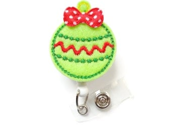 Christmas Ornament Green with red bow - Retractable ID Badge Reel - Teacher Badge Holder - Nurse Badge Holder - Christmas Gift - RN