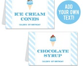 INSTANT DOWNLOAD Ice Cream Party Buffet Cards - EDITABLE Printable File