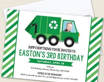 Garbage Truck Party Photo Invitations - Professionally printed *or* DIY printable