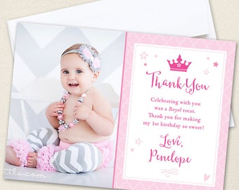 Princess Photo Thank You Cards - Professionally printed *or* DIY printable