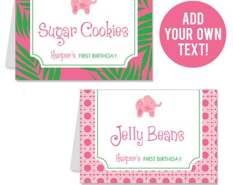 INSTANT DOWNLOAD Pink Elephant Party Buffet Cards - EDITABLE Printable File