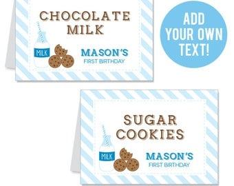 INSTANT DOWNLOAD Milk and Cookies Party Buffet Cards - EDITABLE Printable File