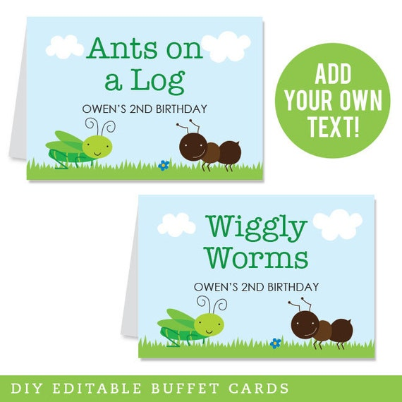 INSTANT DOWNLOAD Insect Party Buffet Cards - EDITABLE Printable File