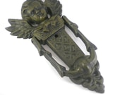 Vintage Rustic Cast Iron Angel Cherub Door Knocker - Home Decor - Door Adornment  Hand Knocker