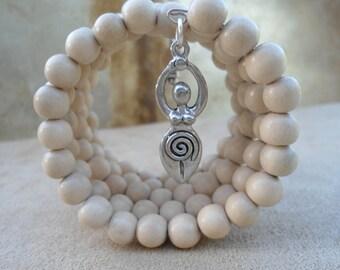 White wood 108 Bead Mala Bracelet Divine Feminine Fertility Goddess Doula Gift Midwife New Mother Mala Beads Pagan Prayer Beads Goddess
