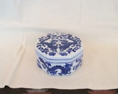 Vintage Chinese Blue and White Porcelain Octagon Shaped Lidded Box with Dragons ~ Marked 76 on the Bottom ~ Excellent Condition ~