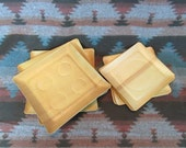 Vintage 17 Japanese Thin Wood Veneer Trays/Plates for Sake, Sushi, Etc. Danish Modern Style Perfect for Appetizers or Special Dishes ~