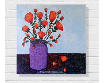 Original Mixed Media Art Painting / Acrylics Canvas / Original Painting / Vase Of Flowers / July Afternoon