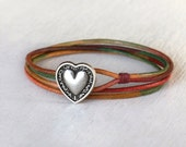 Double Wrap Leather Bracelet - Heart Bracelet (20 charms and 24 colors to choose)