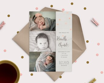 Falling Hearts -- sweet & simple baby announcement - 3 photos