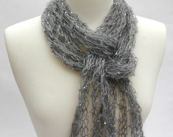 Silk & Mohair Sequined Scarf, Hand Knit/ Dove Gray