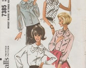 McCalls 7385 / Vintage 60s Sewing Pattern / Blouse Shirt Top / Size 12 Bust 32