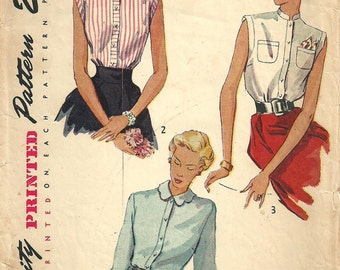 Vintage 50s Sewing Pattern // Simplicity 3092 // Blouse // Size 14 Bust 32