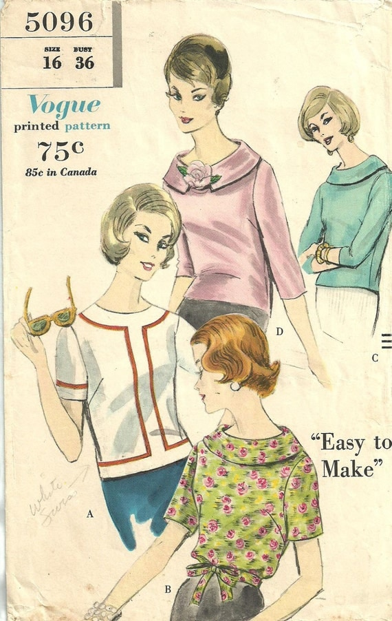 Vogue 5096 / Vintage 60s Sewing Pattern / Blouse Shirt Top / Size 16 Bust 36