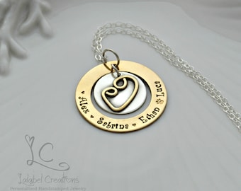 Gold Silver Mother and Child Necklace, Personalized Necklace, Kids Name Necklace, Washer Necklace, Hand Stamped Mothers Day Necklace