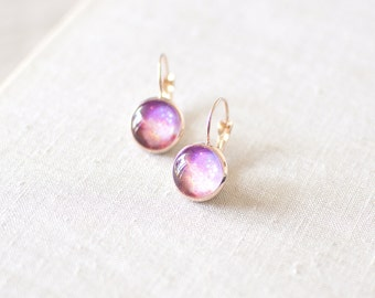 Peach and Purple Galaxy Earrings. Space Earrings. Galaxy Jewelry. Nebula Earrings. Rose Gold Plated Glass Dome Earrings. Galaxy Jewelry.