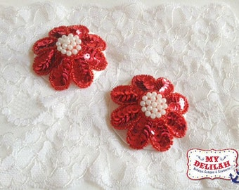 Burlesque Pasties Red Sequin Flower Christmas