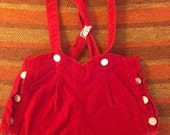 60s Perfect Red Velvet Valentine Overalls Romper w/ Pearlescent Buttons, Baby Size 6 months