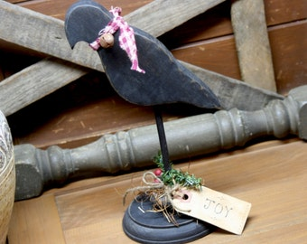 Christmas Crow Primitive Decor